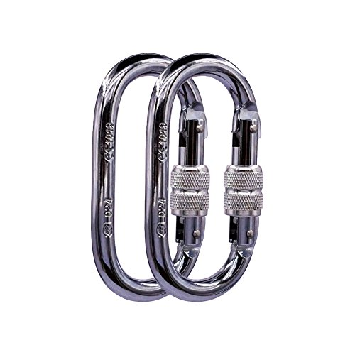 Paliston 25kN O Shape Steel Climbing Carabiner Oval Locking Carabiner for Rock Climbing Hammock Aerial Dance and Swing Set (Pack of 2)