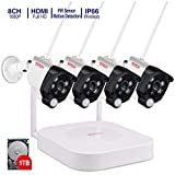 [Expandable 8CH] Wireless Security Camera System,Tonton 8CH 1080P NVR with 1TB HDD and 4PCS 2.0MP Outdoor Indoor Bullet IP Camera with PIR Sensor,Audio Record,Night Vision,P2P,Free App,Remote Viewing