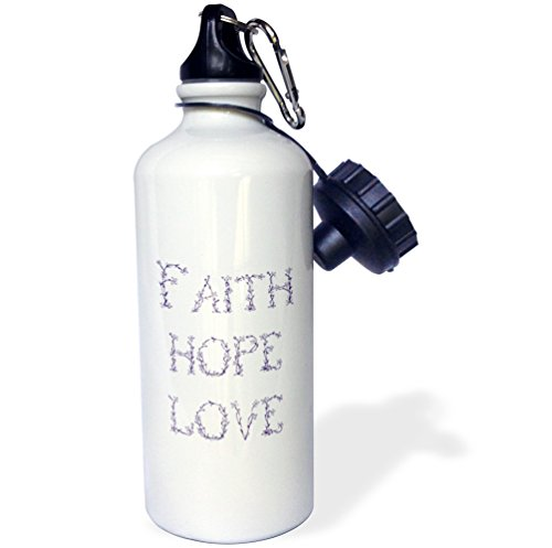 3dRose wb_155886_1 ''Purple and White Floral Letters Faith, Hope and Love'' Sports Water Bottle, 21 oz, White by 3dRose