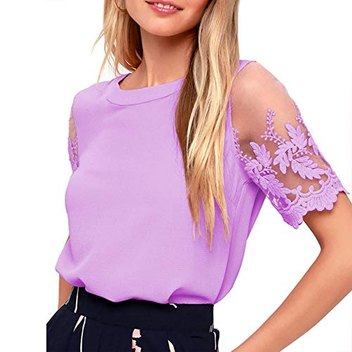 Shy Velvet Women's Lace Sleeve Top Chiffon Blouses Shirts Purple