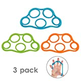 Moko Hand Grip Strengthener, 3 Pack Finger Exerciser & Hand Grip Ring Muscle Power Training Rubber Ring Exerciser Gym Expander for Muscle Pain Relief and Therapy, Colorful
