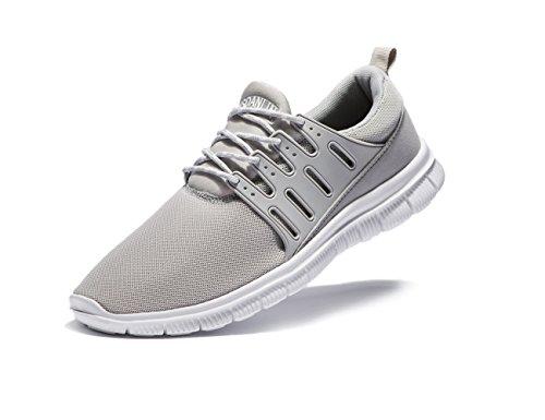 Vsdanlin Men's Running Shoes Lightweight Athletic Breathable Mesh Anti-Slip Casual Comfortable Sneakers (US11/45EU Men, Grey)
