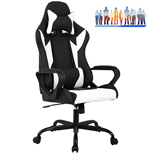 FDW Racing Office Chair, High-Back PU Leather Gaming Chair Reclining Computer Desk Chair Ergonomic Executive Swivel Rolling Chair with Adjustable Headrest Lumbar Support for Women, Men(White)