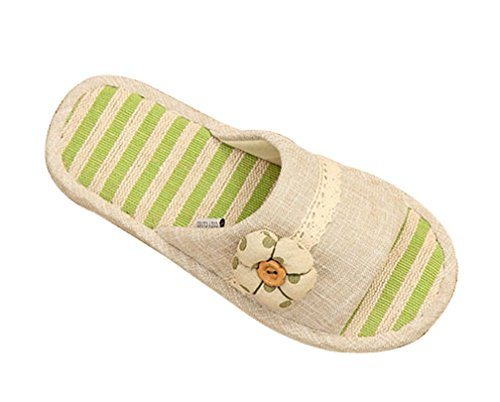 Cattior Womens Flax Cute Slippers Ladies Slippers Green KT4eMIAqX