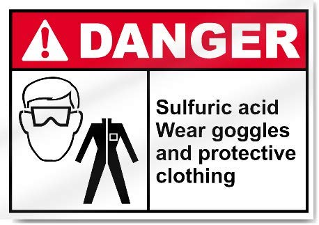 Yilooom Sulfuric Acid Wear Goggles and Protective Clothing Warning Sticker Vinyl Sign Label Alert Decal Sticker 7 X 10 Inch