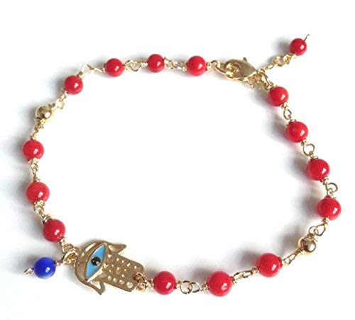 Evil Eye Hamsa Red Coral Bracelet Lucky Charms Jewelry