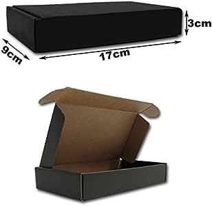 17x9x3cm.Cajas Postales automontables Microcartón kraft. Color exterior NEGRO. Pack 25 unidades: Amazon.es: Oficina y papelería