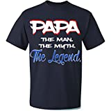 Fresh Tees Brand- Papa The Man The Myth The Legend T-shirt Father's Day Shirt (4X-Large, Navy Blue)