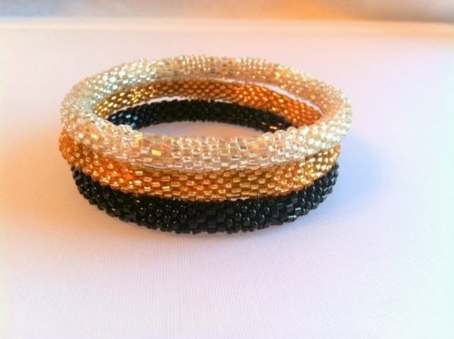 Crocheted Beaded Bracelet (Textured Golden Black and Silver Beaded Handmade Bracelets Set, Roll on Your Wrist, Seed Bead Bracelet)