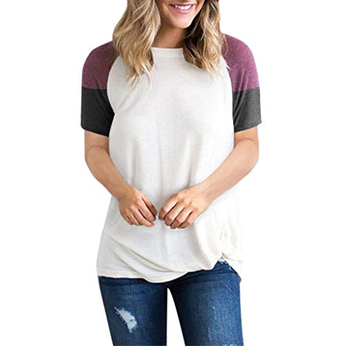 Hosamtel Fashion Womens T-Shirt Long Sleeve Patchwork Button Tie Pullover Ladies Casual Tops Sweatshirt Blouse Top ()