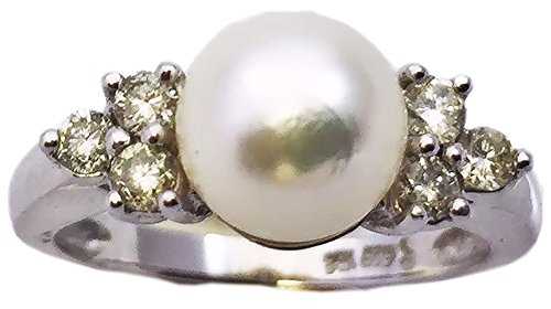 Akoya Pearl 14kt Gold Ring - Akoya Cultured Pearl 7.5-8mm Ring With 0.012 ct. tw diamonds; 14Kt. White Solid Gold
