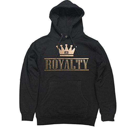 Ftd Apparel Mens Royalty Crown Retro 4 Metallic Gold Pullover Hooded Sweater   Large Black
