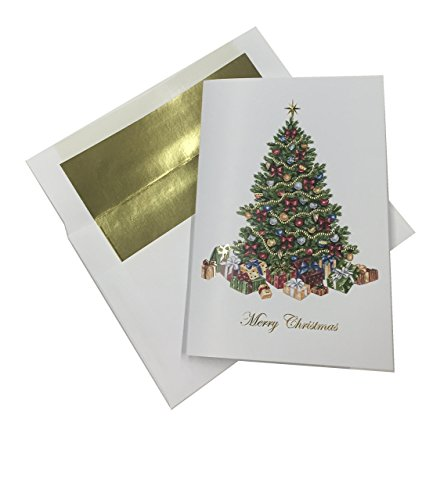 Traditional Christmas Tree with Ornaments and Gifts - 24 Pack Christmas Cards and Gold Foil Lined Envelopes