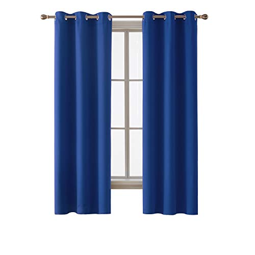 Deconovo Grommet Window Panels Thermal Insulated Blackout Curtains for Kids' Room 38 x 63 Inch Royal Blue 2 Curtain Panels (Dark Kids Curtains Blue)