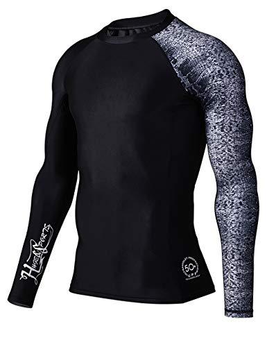 HUGE SPORTS Men's Splice UV Sun Protection UPF 50+ Skins Rash Guard Long Sleeves (Leopard Print, ()