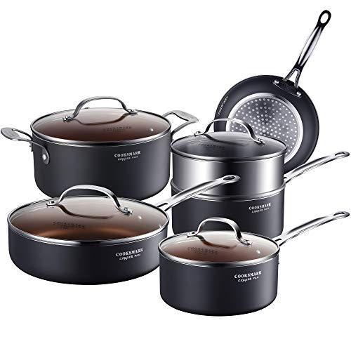 AMERICOOK Copper Cookware Set 10 Piece with Nonstick Ceramic Coating - Copper Pots and Pans Sets Induction, Ceramic Cookware Set Nonstick - Include Frying Pan, Skillet, Saute Pans, Stock Pot and Steam