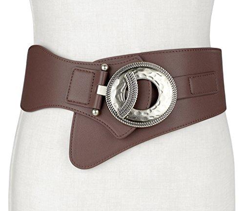 Retro Women Leather Wide Elastic Stretch Cinch Waist Belt With Interlock (Wide Cowl)