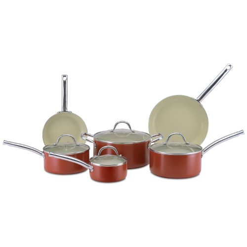 CeraStone CCJES77 Earth Series 10-Piece Ceramic Non Stick Cookware Set, Rust