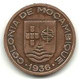 1936 Mozambique (Portuguese Colony) 10 Centavos Coin KM#63