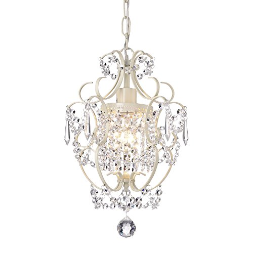 Review Ivory White Finish Mini Chandelier Wrought Iron Ceiling Light Fixture
