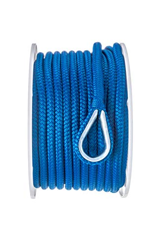 - Seachoice 42161 Anchor Rope for Boating - Double Braid Nylon Anchor Line, ⅜-Inch x 100 Feet, Blue