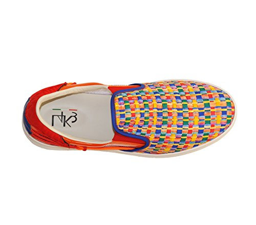 Shoes L4K3 LAKE Unisex SLIP ON Raffia MULTICOLOR / ORANGE