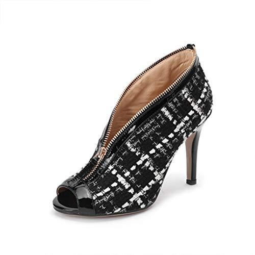 GanQuan2018 Women Peep Toe Pumps, Elegant Kitten Heel Zipper Plaid Shoes Black