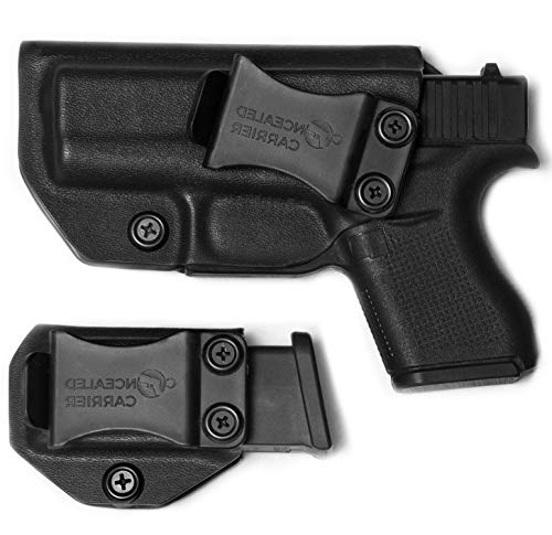 IWB Glock 43 Holster with Magazine Holster | Made in USA by Combat Veteran Owned Company | Mag Pouch | Concealed Carry Clip CCW Holsters Inside The Waistband (Black, Left-Hand Draw (IWB)) (Best Glock Small Hands)