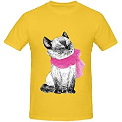 The Bright Scarf Cat Men O Neck Music Shirts Yellow