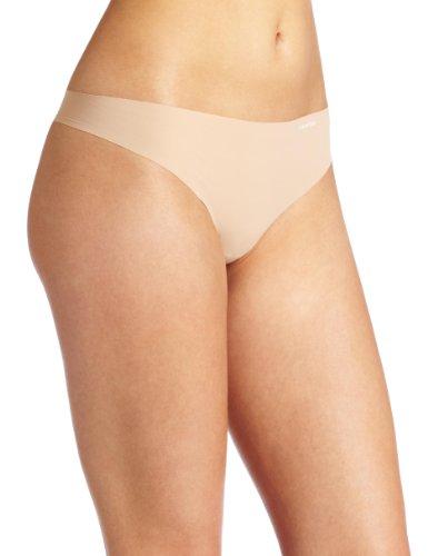 Calvin Klein Women's Invisibles Thong Panty, Light Caramel, Small