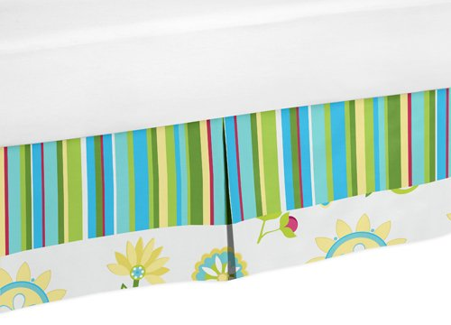 Sweet Jojo Designs Turquoise and Lime Layla Bed Skirt for Toddler Bedding Sets by Sweet Jojo Designs
