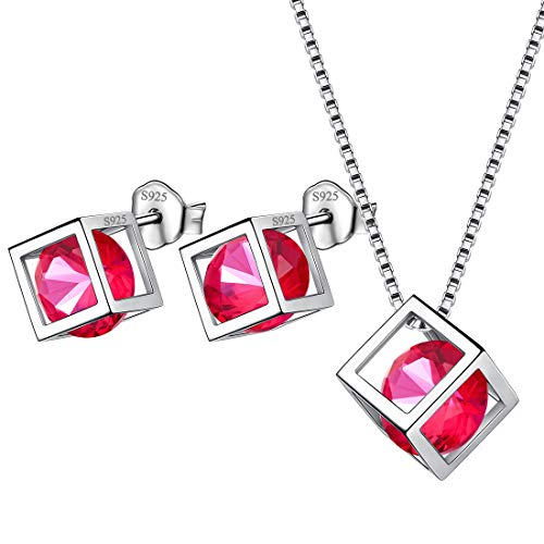 Aurora Tears Birthstone July Earrings Necklace Sets 925 Sterling Silver Girls Studs Small with Pendant Jewelry Sets Women Birth Stone Gift - Pendant Silver Studs 925