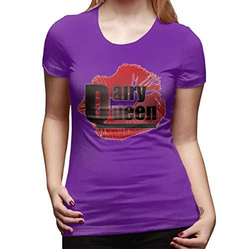 - CSDQC Women's Customized Tops Tee Dairy Queen Logo DQ Logo Short Sleeve Fashion Tshirt Purple L