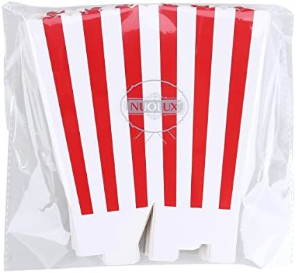 NUOLUX Popcorn Boxes Popcorn Holder Containers Cartons Paper Bags Stripe Box,24pcs