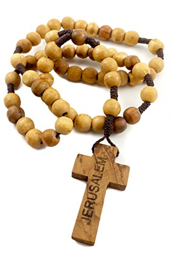 (Catholic Prayer Short Rosary Thread Wood Beads With Cross Crucifix Jerusalem)