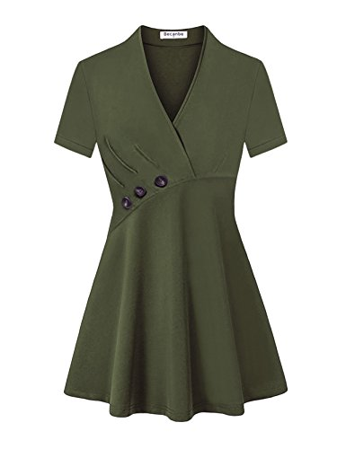 Becanbe Business Casual Clothes for Women, Womens V Neck Short Sleeve Button Loose Fitted Casual Tunic Shirts(Green,Large) by Becanbe