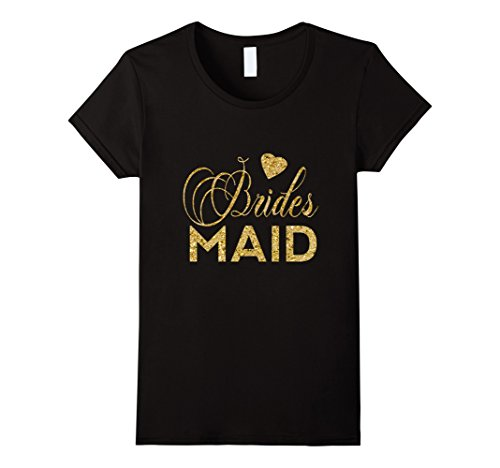 Women's Women's Bridesmaid Gold Faux Glitter Bachelorette Shirts Large Black (Gold Glitter Shirt)