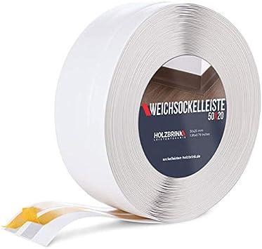 Holzbrink Weichsockelleiste Selbstklebend Weiss Knickleiste 50x20mm 25 Meter Amazon De Baumarkt