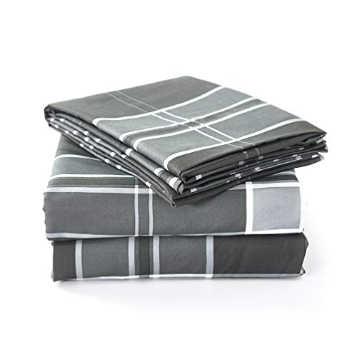 Luxe Bedding Bed Sheet Set - Brushed Microfiber 2000 Bedding - Wrinkle, Fade, Stain Resistant - Hypoallergenic - 4 Piece (Full, Liverpool - Gray)
