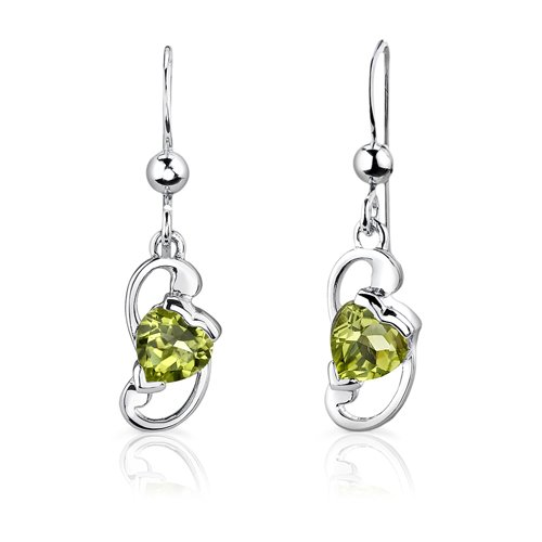 Peridot Pendant Earrings Necklace Set Sterling Silver Heart Shape 1.75 Carats