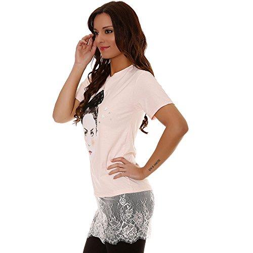 Miss Wear Line - Tshirt rose bimatière avec dentelle sur le bas et un visage sur le devant