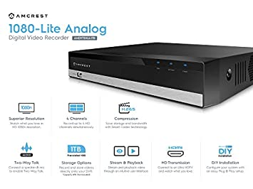 Amcrest 1080n ProHD 4 Channel DVR Security Camera System Recorder, Security DVR for Analog Security Cameras Amcrest IP Cameras, Cameras NOT Included, Pre-Installed 1TB HDD AMDVTENL4-1TB