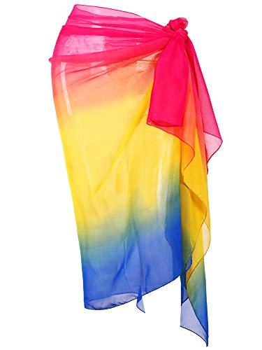 Hestya Women Pareo Swimsuit Beach Swimwear Wrap Gradient Color Bikini Sarong (Multicolor 4)