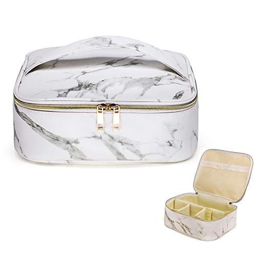 (HOYOFO Makeup Bag Organizer Case Travel Cosmetic Case Portable with Removable Dividers for Men and Women,Marble White)