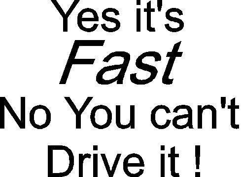 YES ITS FAST NO YOU CAN'T DRIVE IT CAR DECAL STICKER, Yellow, 16 Inch, Die Cut Vinyl Decal, For Windows, Cars, Trucks, Toolbox, Laptops, Macbook-virtually Any Hard Smooth Surface by ELKS Unique Design