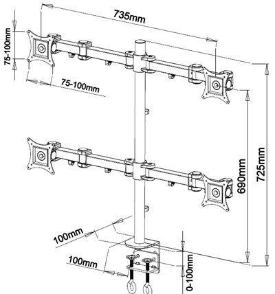AM11S Single LCD Monitor Desk Mount Bracket for 15-27 Screens : Tilt up//Down 15/° Freely Swivel Left//Right: 360/° Support de Bureau pour Moniteur Freely Rotate: 360/°