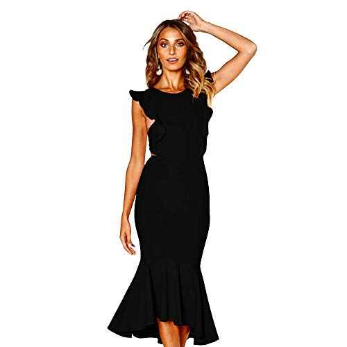 Evening Cocktail Prom Backless Sleeveless Dress Fishtail Midi Dress Fitted Slim Dress in Black and Red (M, Black)
