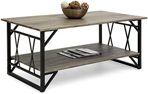 Best Choice Products Wooden Modern Contemporary Coffee Table for Living Room, Office w Open Shelf Storage, Metal Legs, Gray