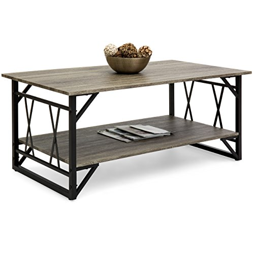 Best Choice Products Wooden Modern Contemporary Coffee Table for Living Room, Office with Open Shelf Storage, Metal Legs, Gray