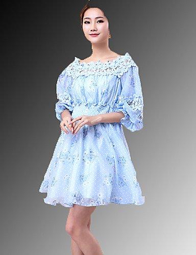 PU&PU Robe Aux femmes Trapèze Street Chic,Couleur Pleine Bateau Au dessus du genou Polyester , blue-l , blue-l